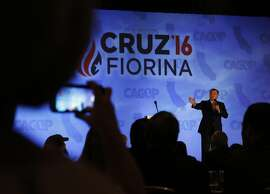 Presidential candidate Ted Cruz delivers a speech during the second day of the California Republican Party Convention April 30, 2016 at the Hyatt Regency in Burlingame, Calif.