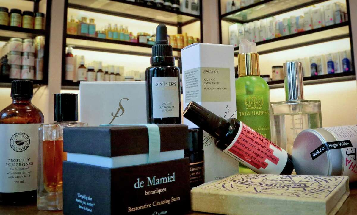 A display of products sold at CAP Beauty-- a wellness store with an all-things-natural approach in West Village of New York, Wednesday April 27, 2016, in New York. The makeup industry is trying to convince women that looking good on the outside starts from within, but itÂ?'s unclear if the products theyÂ?'re trying to hawk are safe and effective. (AP Photo/Bebeto Matthews)