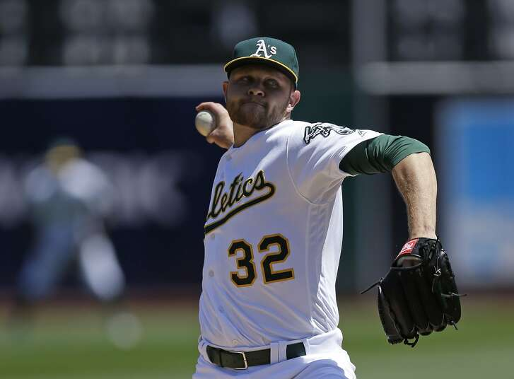 Oakland Athletics pitcher Jesse Hahn works against the Houston Astros in the first inning of a baseball game Saturday, April 30, 2016, in Oakland, Calif. (AP Photo/Ben Margot)