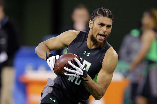 California receiver Kenny Lawler runs a drill at the NFL football scouting combine on Saturday, Feb. 27, 2016, in Indianapolis. (AP Photo/Darron Cummings)