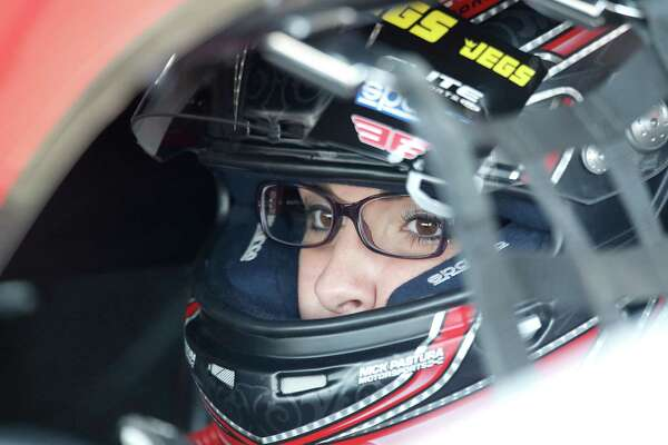 Pro Stock driver Erica Enders- Stevens sits in the driver seat before qualification at the 29th annual NHRA Spring Nationals at the Royal Purple Raceway on Friday, April 30, 2016 in Baytown, TX.