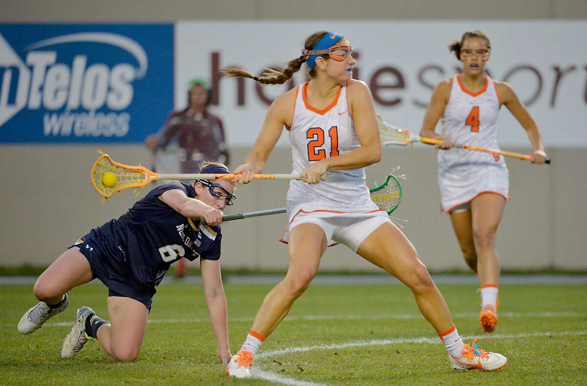 Syracuse Kayla Treanor (21) aims for the goal during the semifinals of the ACC Women's Lacrosse Championship in Blacksburg, Va., Friday, April 29, 2016. (Sara D. Davis / theACC.com)