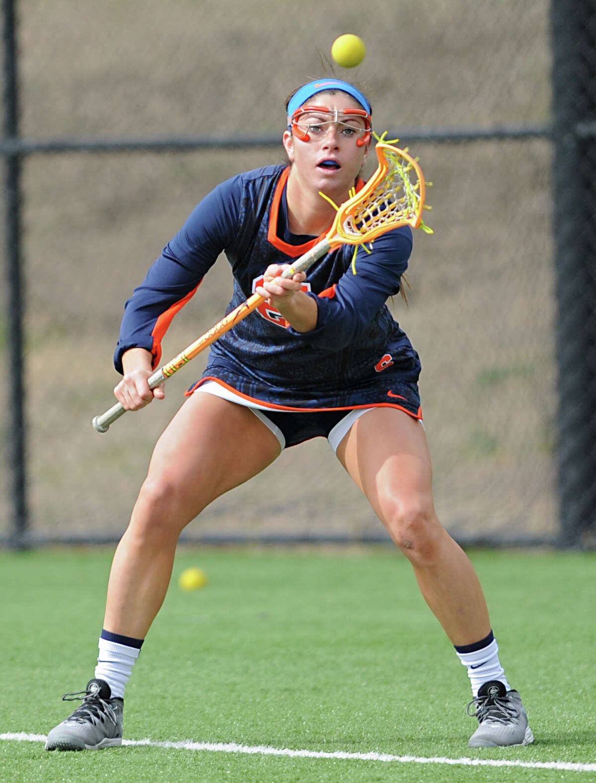 Syracuse women's lacrosse player Kayla Treanor catches the ball during a game against University at Albany on Tuesday, April 12, 2016 in Albany, N.Y. Treanor, a Niskayuna native, is one of the top players in the country. (Lori Van Buren / Times Union)