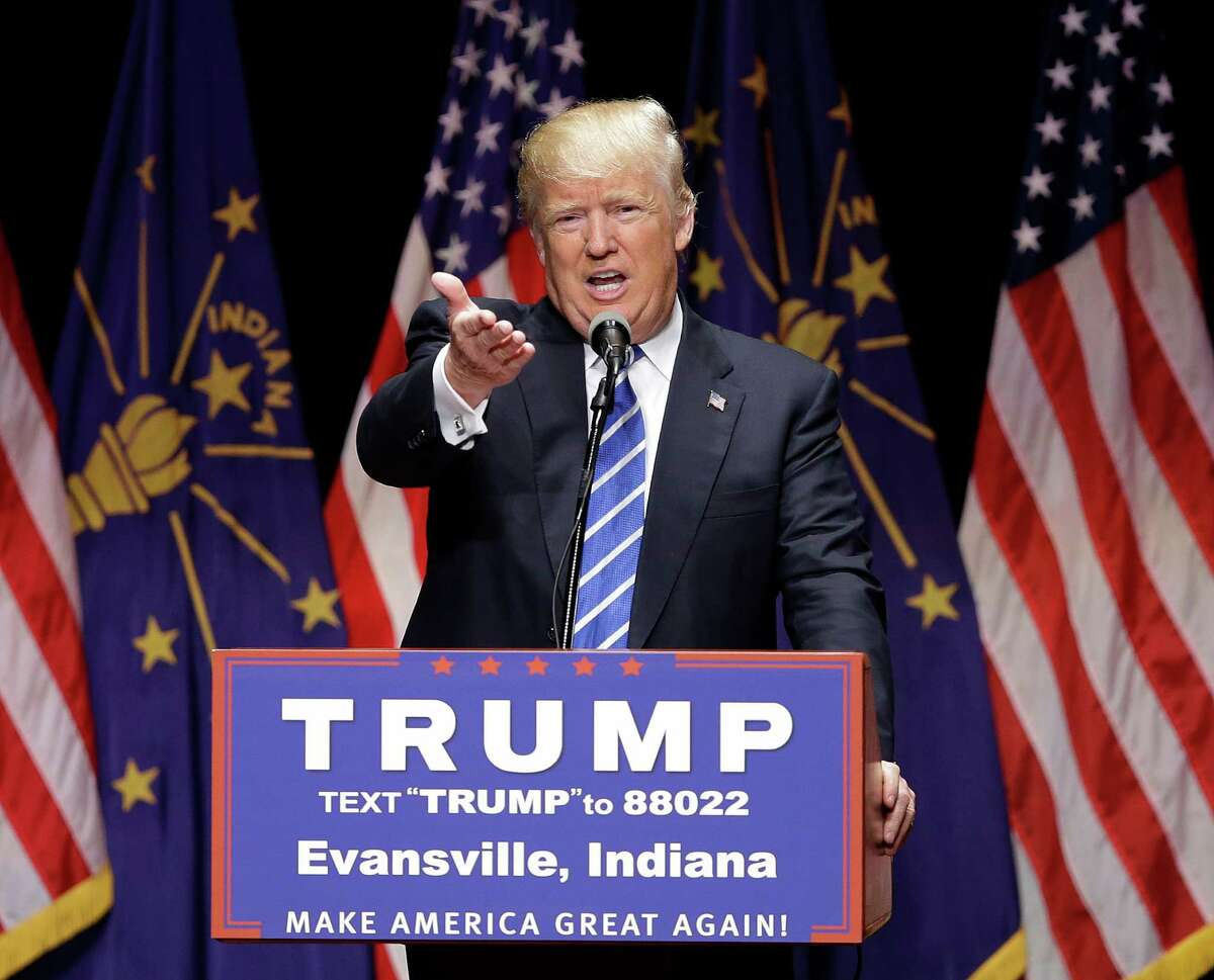 FILE - In this April 28, 2016 file photo, Republican presidential candidate Donald Trump speaks in Evansville, Ind. After toying with gender politics off and on during the campaign, Donald Trump is all in on a mission to undercut Hillary Clinton?'s credentials by syncing up his say-anything campaign strategy with his alpha-male persona. (AP Photo/Darron Cummings, File) ORG XMIT: WX103