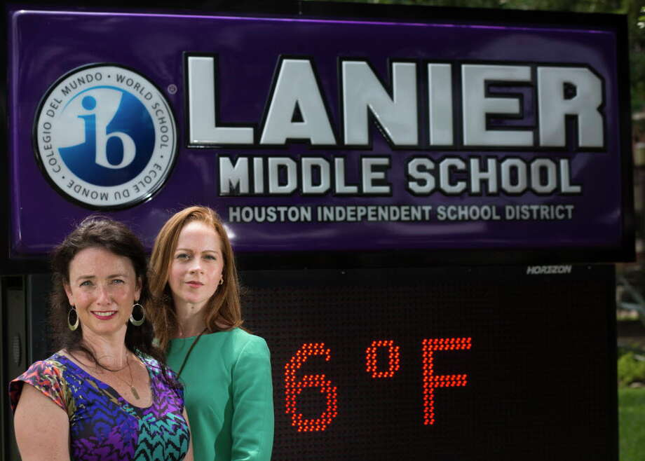Chrysi Polydoros, left, and Adrienne Murry are leading the effort to keep the name of Sidney Lanier Middle School. They believe is important to protect the legacy of Lanier who was a poet. Thursday, April 28, 2016, in Houston. Photo: Marie D. De Jesus, Houston Chronicle / © 2016 Houston Chronicle