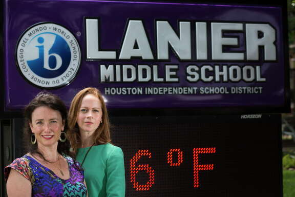 Chrysi Polydoros, left, and Adrienne Murry are leading the effort to keep the name of Sidney Lanier Middle School. They believe is important to protect the legacy of Lanier who was a poet. Thursday, April 28, 2016, in Houston.