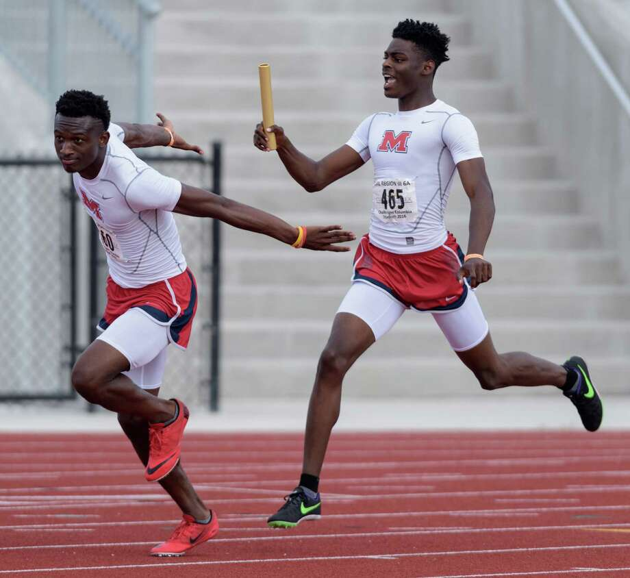 Manvel High School Boy's Team won the 4x100 Relays at the 6A Region III Championships on Saturday, April 30, 2016 at the Challenger Columbia Stadium. Photo: Wilf Thorne, For The Chronicle / © 2016 Houston Chronicle