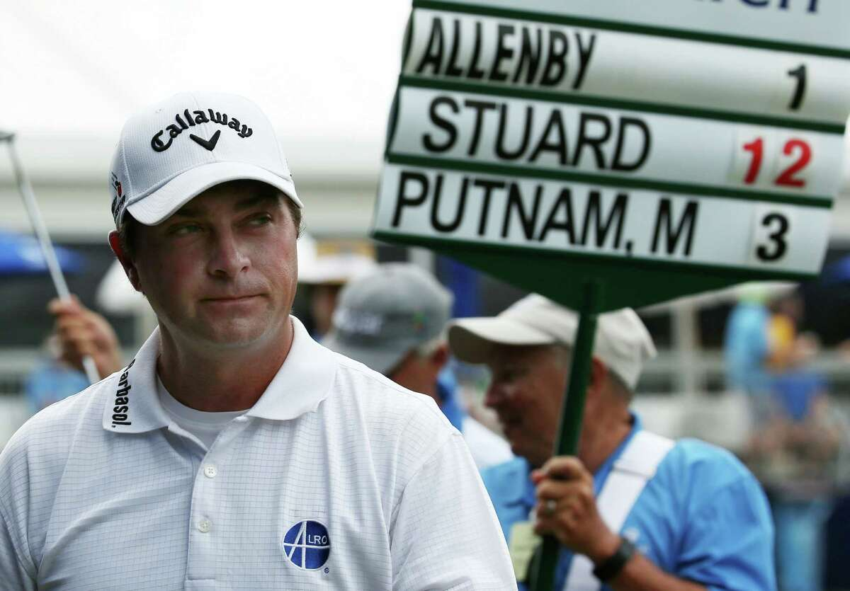 AVONDALE, LA - APRIL 30: Brian Stuard walks off the 9th green after finishing the continuaiton of the second round of the Zurich Classic of New Orleans at TPC Louisiana on April 30, 2016 in Avondale, Louisiana. (Photo by Chris Graythen/Getty Images) ORG XMIT: 592308687