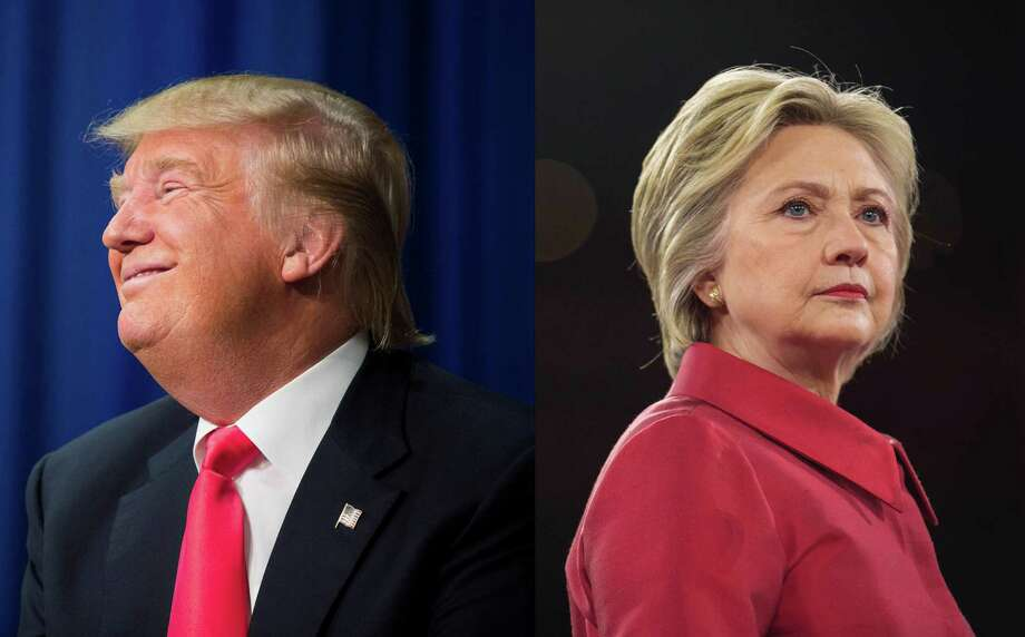 In a two photo combination, Republican presidential hopeful Donald Trump, left, in Iowa on Jan. 30, 2016, and Democratic presidential hopeful Hillary Clinton in Washington on March 21, 2016, at right. The Clinton-Trump battle of the sexes is already getting ugly and is only going to get worse as November approaches. (Left: Damon Winter, right: Zach Gibson/The New York Times) Photo: LEFT: DAMON WINTER, RIGHT: ZACH , STF / NYTNS