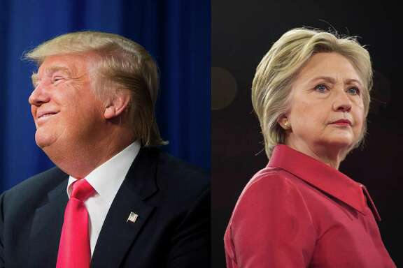 In a two photo combination, Republican presidential hopeful Donald Trump, left, in Iowa on Jan. 30, 2016, and Democratic presidential hopeful Hillary Clinton in Washington on March 21, 2016, at right. The Clinton-Trump battle of the sexes is already getting ugly and is only going to get worse as November approaches. (Left: Damon Winter, right: Zach Gibson/The New York Times)