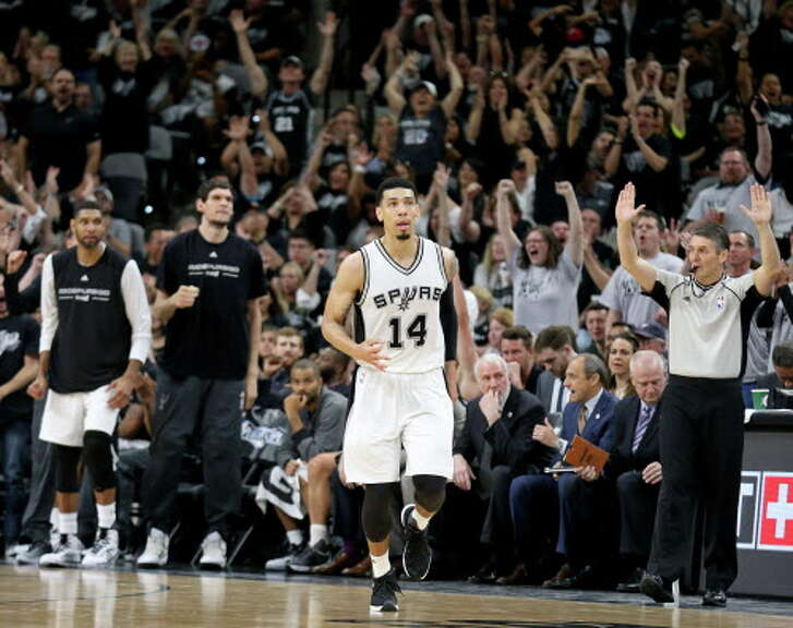 San Antonio Spurs' Danny Green reacts after making a 3-pointer during first half action of Game 1 in the Western Conference semifinals against the Oklahoma City Thunder Saturday April 30, 2016 at the AT&T Center.