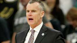 Oklahoma City Thunder head coach Billy Donovan yells instructions to his team during second half action of Game 1 in the Western Conference semifinals against the San Antonio Spurs Saturday April 30, 2016 at the AT&T Center. The Spurs won 124-92.