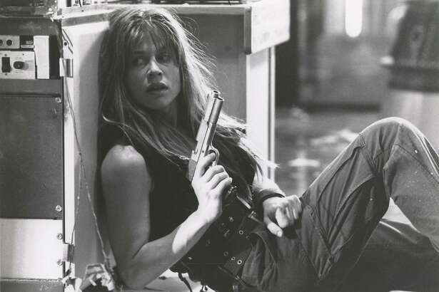 """Sarah Connor (Linda Hamilton) has fashioned herself into a tough warrior to protect her son and herself in the impending war between man and the machines in this scene from """"Terminator 2: Judgement Day"""""""