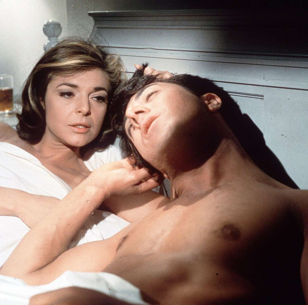 In this publicity still, actors Anne Bancroft, left, and Dustin Hoffman appear in a scene from the 1967 film