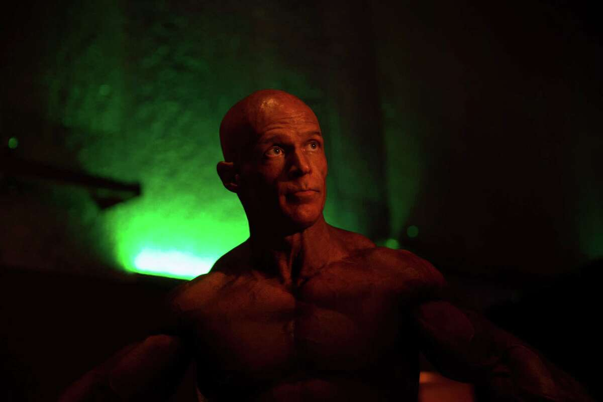 Will Fieser pumps up backstage before competing in the men's over 50 masters class at the 2016 Emerald Cup at the Meydenbaur Center in Bellevue on Friday, April 29, 2016.