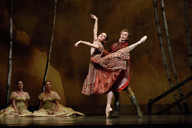 "Lauren Strongin as Olga and retiring principal dancer Gennadi Nedvigin as Lensky in the S.F. Ballet's season-concluding ""Onegin."""