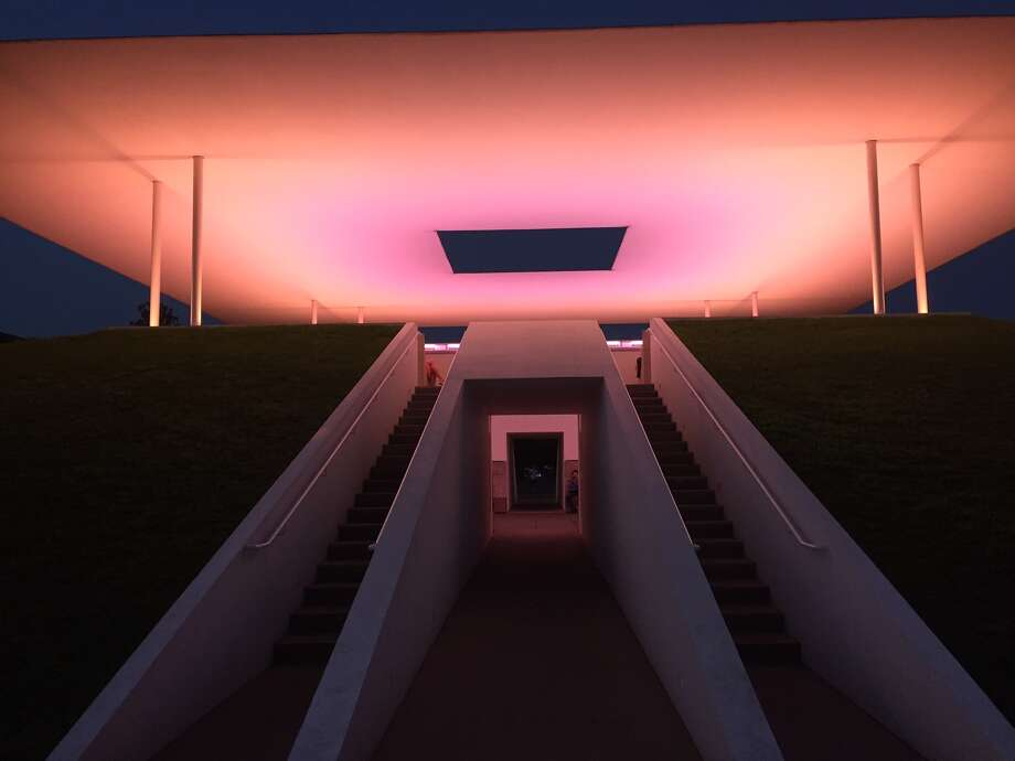 "A 40-minute light show occurs at sunrise and sunset at the James Turrell Skyspace art installation, ""Twilight Epiphany,"" located on Rice University. Photo: Jessica Hamilton"