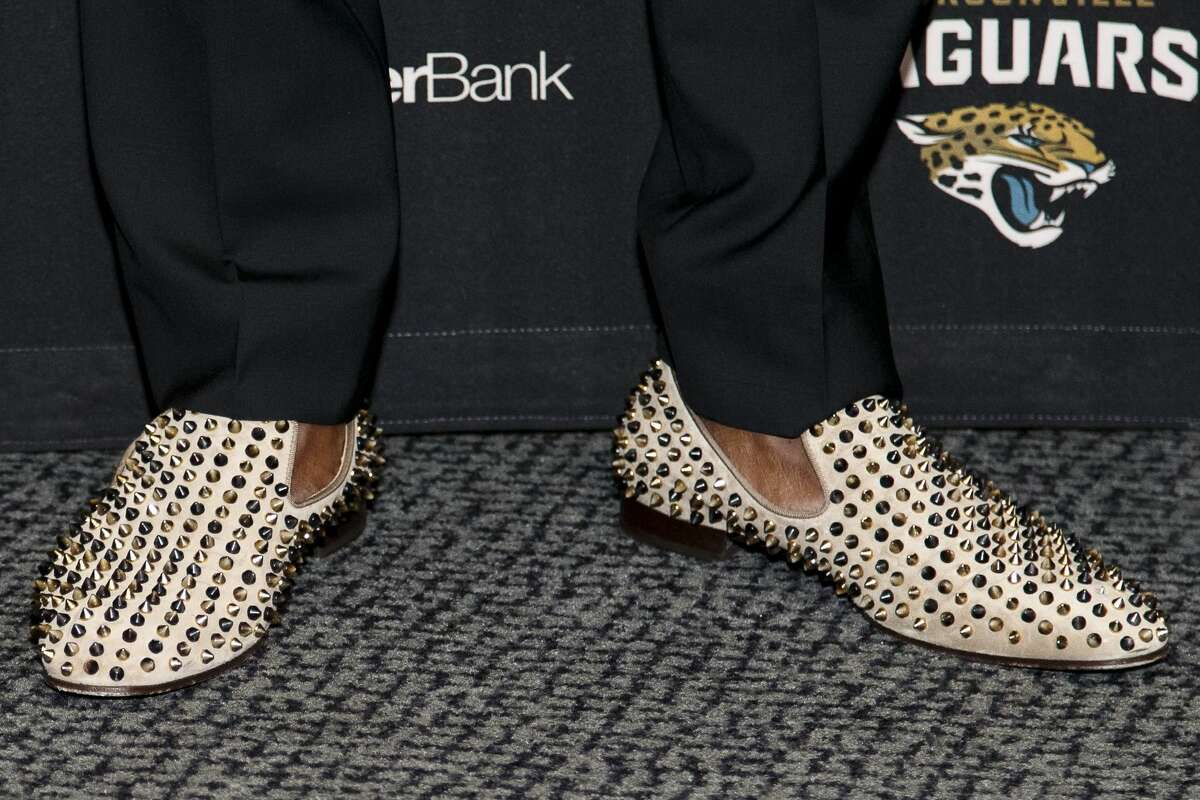 JACKSONVILLE, FL - APRIL 29: A general view of a pair of Christian Louboutin Dandelion Spikes Flat shoes worn by Cornerback Jalen Ramsey of the Jacksonville Jaguars as he is being introduced to the media for the first time at EverBank Field on April 29, 2016 in Jacksonville, Florida. The Jaguars selected Ramsey fifth overall out of Florida State University in the 2016 NFL Draft. (Photo by Don Juan Moore/Getty Images)