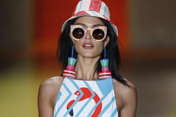 A model wears a creation from the Salinas collection during Sao Paulo Fashion Week in Sao Paulo, Brazil, Thursday, April 28, 2016. (AP Photo/Andre Penner)