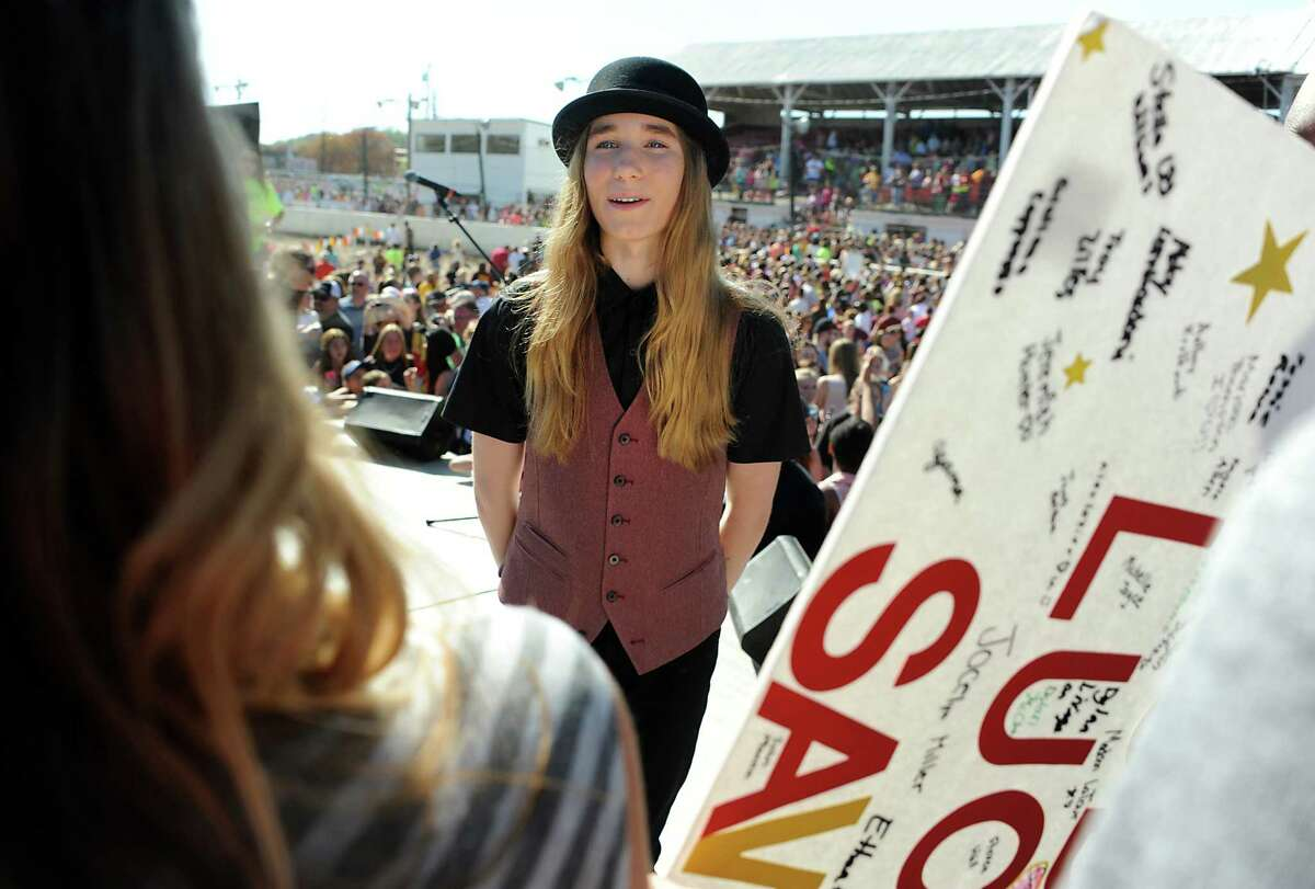 FultonvilleOs own Sawyer Fredericks meets with fans on stage after performing at the Fonda Speedway on Wednesday, May 6, 2015 in Fonda, N.Y. The 16-year-old singer/songwriter is one of the final six contestants on NBCOs show The Voice. (Lori Van Buren / Times Union)