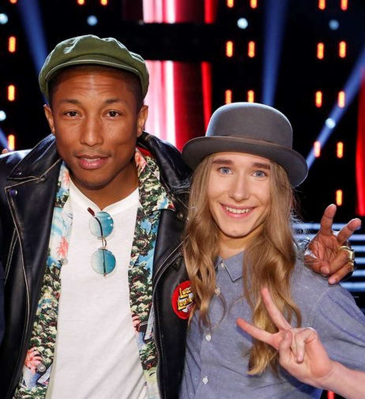 Sawyer Fredericks with his coach, Pharrell Williams (photo from nbc.com)