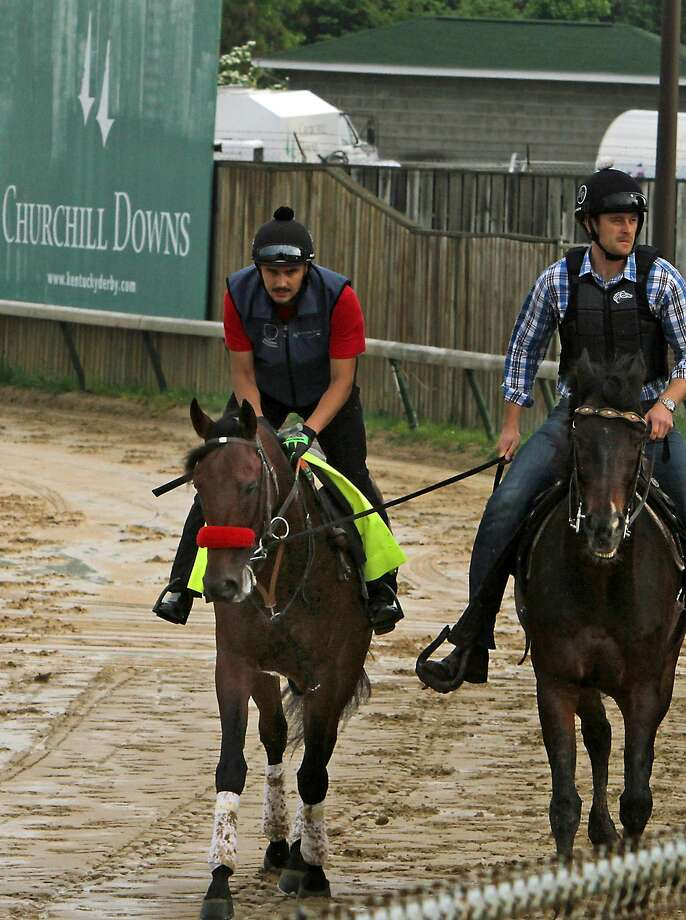 Kentucky Derby hopeful Nyquist, with exercise rider Jonny Garcia in the saddle, walks the wrong way on the track at Churchill Downs in Louisville, Ky., Sunday, May 1, 2016. It was the colt's first trip to the racing surface since shipping from Keeneland. (AP Photo/Garry Jones) Photo: Garry Jones, Associated Press