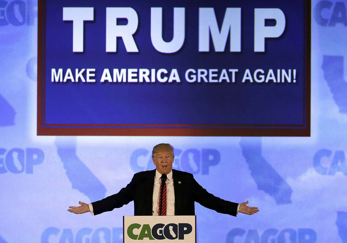 Republican presidential candidate Donald Trump speaks at the California Republican Party 2016 Convention in Burlingame, Calif., Friday, April 29, 2016. (AP Photo/Jeff Chiu)