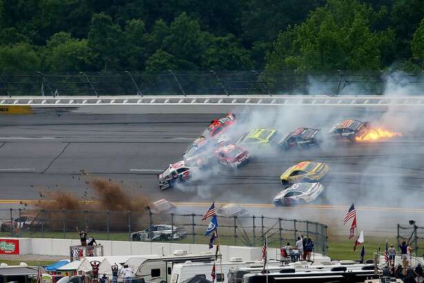 TALLADEGA, AL - MAY 01:  Austin Dillon, driver of the #3 Dow - Energy & Water/Intellifresh Chevrolet, and others are involved in a large on track incident during the NASCAR Sprint Cup Series GEICO 500 at Talladega Superspeedway on May 1, 2016 in Talladega, Alabama.  (Photo by Sean Gardner/Getty Images)