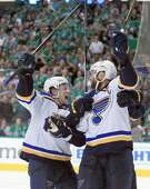 DALLAS, TX - MAY 01:  David Backes #42 of the St. Louis Blues and Vladimir Tarasenko #91 of the St. Louis Blues celebrate after Backes scored the game winning goal against Antti Niemi #31 of the Dallas Stars in overtime in Game Two of the Western Conference Second Round during the 2016 NHL Stanley Cup Playoffs at American Airlines Center on May 1, 2016 in Dallas, Texas.  (Photo by Tom Pennington/Getty Images)