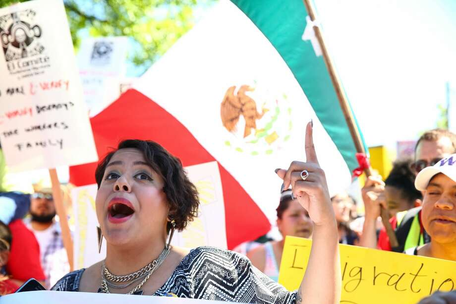 Demonstrators participate in the annual May Day immigration and workers' rights march from Judkins Park to the federal courthouse downtown, May 1, 2016.The march is upbeat, cheerful and peaceful. Photo: GENNA MARTIN, SEATTLEPI.COM