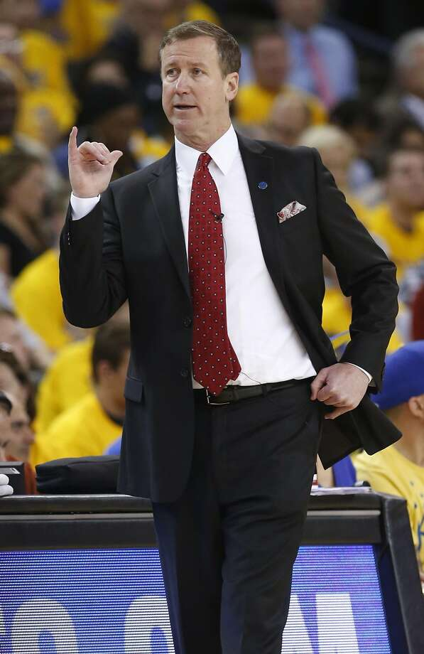 Portland Trail Blazers' head coach Terry Stotts during Golden State Warriors' 118-106 win in Game 1 of NBA Playoffs' Western Conference Semifinals at Oracle Arena in Oakland, Calif., on Sunday, May 1, 2016. Photo: Scott Strazzante, The Chronicle