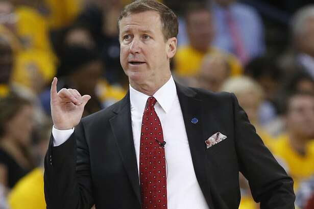 Portland Trail Blazers' head coach Terry Stotts during Golden State Warriors' 118-106 win in Game 1 of NBA Playoffs' Western Conference Semifinals at Oracle Arena in Oakland, Calif., on Sunday, May 1, 2016.