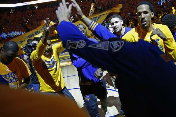 Golden State Warriors before 118-106 win over Portland Trail Blazers in Game 1 of NBA Playoffs' Western Conference Semifinals at Oracle Arena in Oakland, Calif., on Sunday, May 1, 2016.