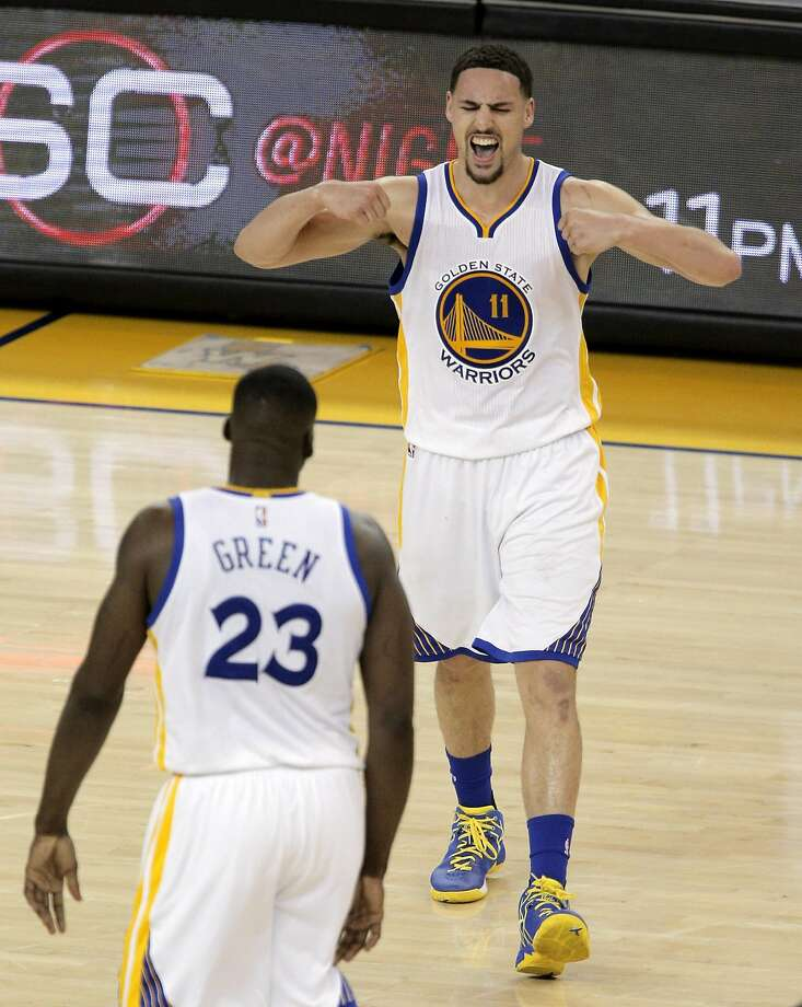 Klay Thompson (11) reacts to a Warriors score in the second half as the Golden State Warriors played the Portland Trail Blazers at Oracle Arena in Oakland , Calif., on Monday, April 25, 2016., Calif., on Sunday, May 1, 2016. Photo: Carlos Avila Gonzalez, The Chronicle
