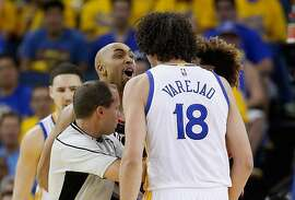 OAKLAND, CA - MAY 01:  Gerald Henderson #9 of the Portland Trail Blazers has words with Anderson Varejao #18 of the Golden State Warriors during Game One of the Western Conference Semifinals for the 2016 NBA Playoffs at ORACLE Arena on May 01, 2016 in Oakland, California.  NOTE TO USER: User expressly acknowledges and agrees that, by downloading and or using this photograph, User is consenting to the terms and conditions of the Getty Images License Agreement.  (Photo by Ezra Shaw/Getty Images)