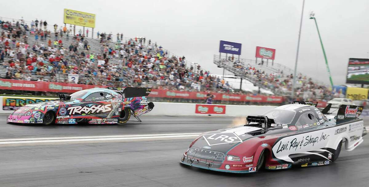 Courtney Force defeated Tim Wilkerson in the Funny Car race finals at the 29th annual NHRA Spring Nationals at the Royal Purple Raceway on Sunday, May 1, 2016 in Baytown, TX.