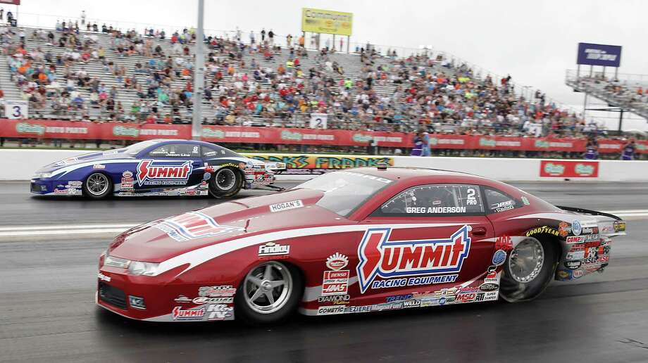 Greg Anderson defeated Jim Line in the Pro Stock race finals at the 29th annual NHRA Spring Nationals at the Royal Purple Raceway on Sunday, May 1, 2016 in Baytown, TX. Photo: Thomas B. Shea, For The Chronicle / © 2016Thomas B. Shea