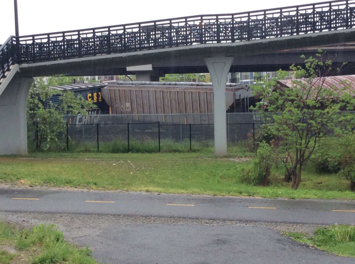 Several cars remain overturned after a CSX freight train derailed in Washington on Sunday, May 1, 2016. (DC Fire and EMS via AP) ORG XMIT: NY108