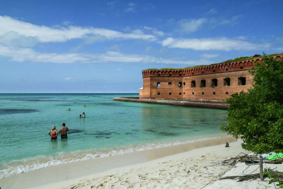 The azure-blue, crystal clear Caribbean waters aside Fort Jefferson teem with hundreds of thousands of multicolored tropical fish, making both swimming and snorkeling a spectacular treat. Photo: S.L.Ebert