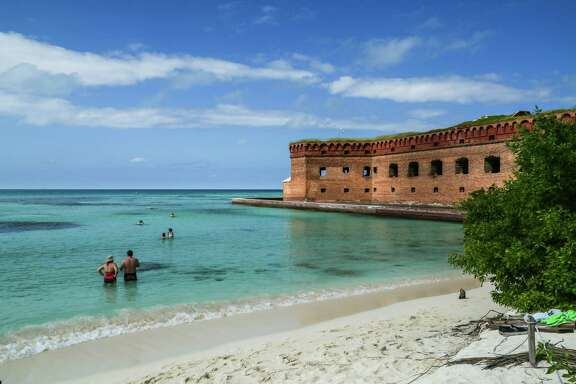 The azure-blue, crystal clear Caribbean waters aside Fort Jefferson teem with hundreds of thousands of multicolored tropical fish, making both swimming and snorkeling a spectacular treat.