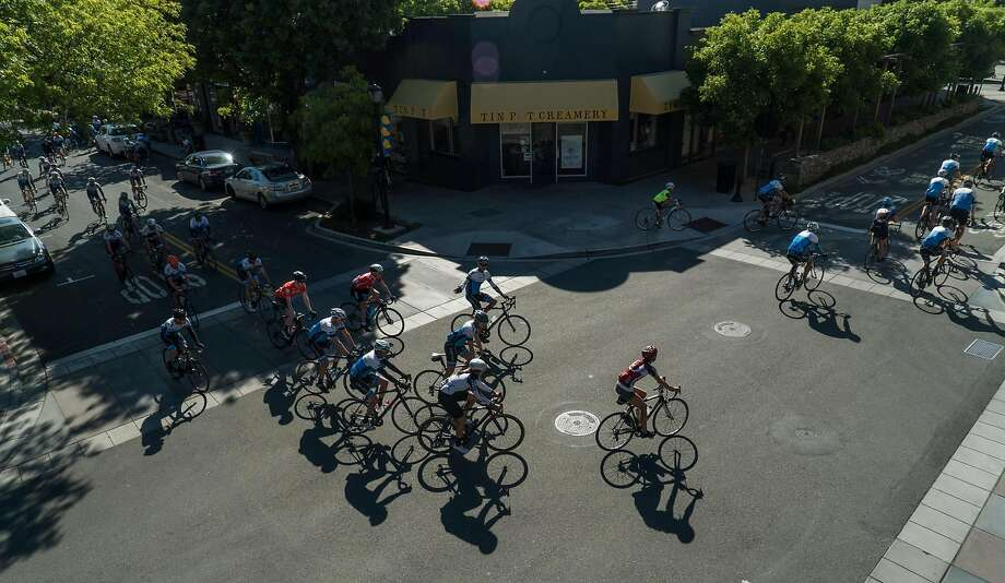 Members of Alto Velo begin their group ride in Los Altos. Photo: James Tensuan, Special To The Chronicle