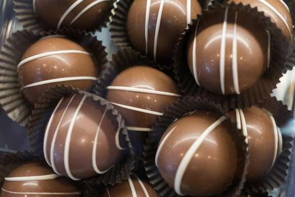 Chocolates are seen at Gourmet Works in Los Altos, Calif. on Saturday, April 30, 2016. Downtown Los Altos offers visitors boutique shops and bakeries.