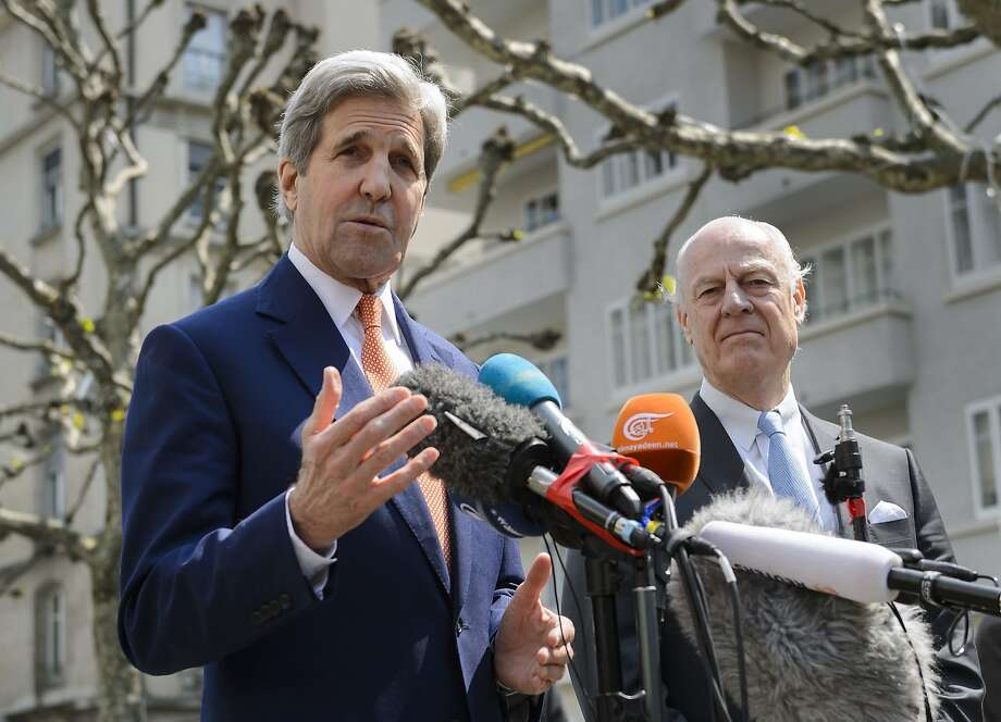 Secretary of State John Kerry (left) and U.N. envoy for Syria, Staffan de Mistura, are working toward securing safe zones. Photo: FABRICE COFFRINI, AFP/Getty Images