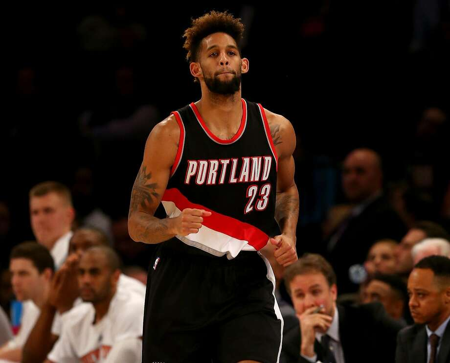 NEW YORK, NY - MARCH 01:  Allen Crabbe #23 of the Portland Trail Blazers celebrates his basket in the second half against the New York Knicks at Madison Square Garden on March 1, 2016 in New York City.The Portland Trail Blazers defeated the New York Knicks 104-85. NOTE TO USER: User expressly acknowledges and agrees that, by downloading and or using this photograph, User is consenting to the terms and conditions of the Getty Images License Agreement.  (Photo by Elsa/Getty Images) Photo: Elsa, Getty Images