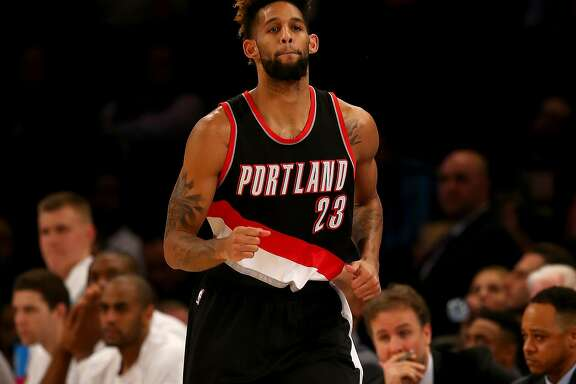 NEW YORK, NY - MARCH 01:  Allen Crabbe #23 of the Portland Trail Blazers celebrates his basket in the second half against the New York Knicks at Madison Square Garden on March 1, 2016 in New York City.The Portland Trail Blazers defeated the New York Knicks 104-85. NOTE TO USER: User expressly acknowledges and agrees that, by downloading and or using this photograph, User is consenting to the terms and conditions of the Getty Images License Agreement.  (Photo by Elsa/Getty Images)