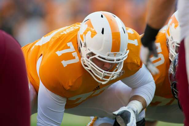 Knoxville, TN - November 3, 2012:    Offensive lineman Kyler Kerbyson #77 of the Tennessee Volunteers of the Tennessee Volunteers of the Tennessee Volunteers  during  the homecoming game between the Troy Trojans and the Tennessee Volunteers at Neyland Stadium in Knoxville, TN. (Photo by Hobe Brunson/Tennessee Athletics/Collegiate Images/Getty Images)
