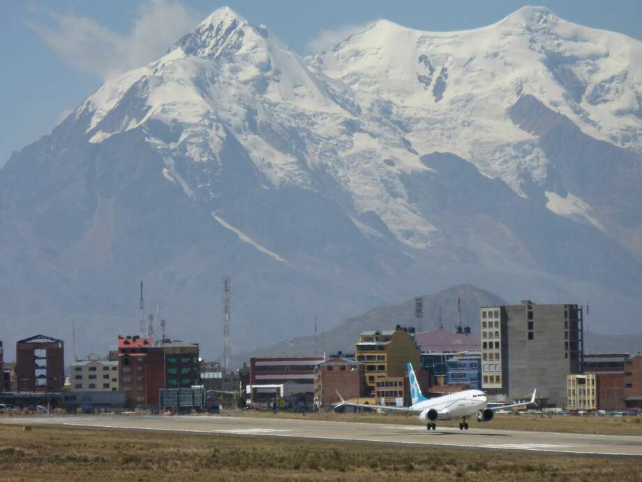 A Boeing 737 MAX takes off for high altitude flight testing in La Paz, Bolivia on Monday, May 2, 2016. This is the first international trip for the 737 MAX test fleet. Photo by John Corrigan, courtesy Boeing. Photo: Courtesy The Boeing Company