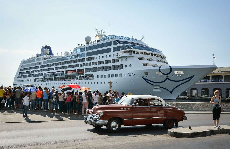 The first US-to-Cuba cruise ship to arrive in the island nation in decades remains docked at the port of Havana, on May 2, 2016.  The first US cruise ship bound for Cuba in half a century, the Adonia -- a vessel from the Carnival cruise's Fathom line -- set sail from Florida on Sunday, marking a new milestone in the rapprochement between Washington and Havana. The ship -- with 700 passengers aboard -- departed from Miami, the heart of the Cuban diaspora in the United States. / AFP PHOTO / JORGE BELTRANJORGE BELTRAN/AFP/Getty Images Photo: JORGE BELTRAN, AFP/Getty Images