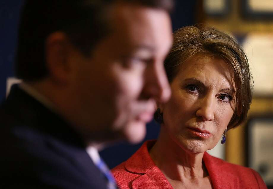 Vice Presidential candidate and former Hewlett-Packard chief executive Carly Fiorina looks on as Republican presidential candidate Sen. Ted Cruz (R-TX) speaks with the media before participating in a taping of Fox News Channel's The Sean Hannity Show at the Indiana War Memorial on April 29, 2016 in Indianapolis, Indiana. Photo: Joe Raedle, Getty Images