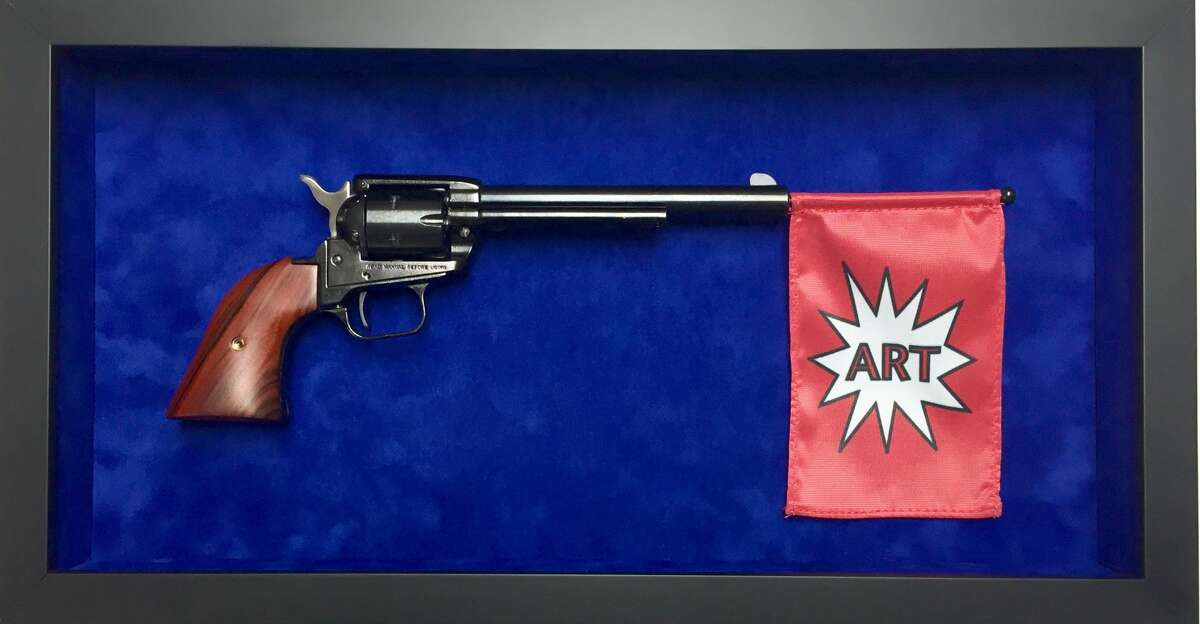 """The original version of """"ARTGun,"""" by artist Alton DuLaney. The University of Houston denied him permission to display the work as intended. Through May 14, a gun-less version is on view at Blaffer Art Museum."""